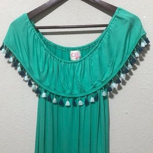 Gianni Bini Tassel Off the Shoulder Teal Dress XL